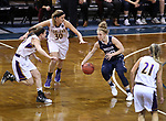 SIOUX FALLS, SD: MARCH 19:  Rylee Kane #25 of MSU Billings navigates Ashland defenders during their game at the 2018 Division II Women's Elite 8 Basketball Championship at the Sanford Pentagon in Sioux Falls, S.D. (Photo by Dick Carlson/Inertia)