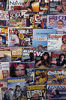 Spanish language consumer lifestyle magazines for sale at a newsstand in Quito, Ecuador