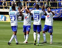 TUNJA-COLOMBIA, 14-04-2019: Los jugadores Millonarios, celebran el gol anotado a Patriotas Boyacá, durante partido entre Patriotas Boyacá y Millonarios, de la fecha 15 por la Liga de Águila I 2019 en el estadio La Independencia en la ciudad de Tunja. / The players of Millonarios, celebrate a scored goal to Patriotas Boyaca, during a match between Patriotas Boyaca and Millonarios, of the 15th date for the  Aguila Leguaje I 2019 at La Independencia stadium in Tunja city. Photo: VizzorImage / José Miguel Palencia / Cont.