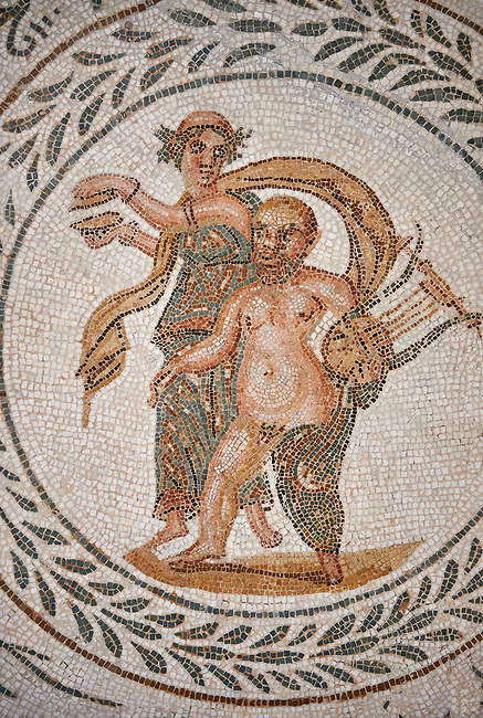 Picture of a Roman mosaics design depicting scenes from the Life of Dionysus, In this mosic medallion Sienus is carrying a lyre, from the ancient Roman city of Thysdrus, House of Silenus. Late 2nd to early 3rd century AD. El Djem Archaeological Museum, El Djem, Tunisia.<br /> <br /> In this mosic medallion Sienus is carrying a lyre