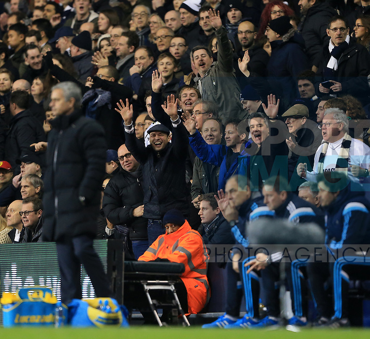 Tottenham's fans hold up 5 fingers to mock Chelsea's Jose Mourinho<br /> <br /> Barclays Premier League - Tottenham Hotspur vs Chelsea - White Hart Lane  - England - 1st January 2015 - Picture David Klein/Sportimage