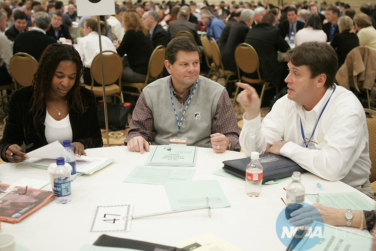 13 January 2008: The Division III Issues Forum at the 2008 NCAA Convention at the Gaylord Opryland Resort Hotel and Convention Center in Nashville, TN.  Pictured: Christyn Chambers, Joe Dean, Jr., Jay Gardiner.Trevor Brown, Jr./NCAA Photos.