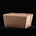 Folded recyclable cardboard container for takeout foods, empty
