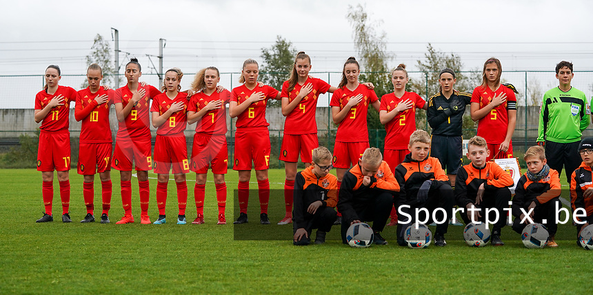 20191101 - Tubize: Belgian team with Estee Cattoor (11)   Marine Rosala (10)   Rania Boutiebi (9)   Dounia F Touh (8)   Alixe Bosteels (7)   Amy Littel (6)   Enora Matte (4)   Loredana Humartus (3)   Lea Detail (2)   Sam Vanhees (1)   Melissa Tom(5)    pictured during the international friendly match between Red Flames U16 (Belgium) and Norway U16 on 1 November 2019 at Belgian Football Centre, Tubize. PHOTO:  SPORTPIX.BE   SEVIL OKTEM