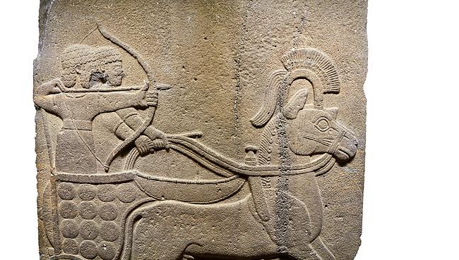 Image of Hittite relief sculpted orthostat stone panel of Long Wall. Close up of Chariot & archer. Karkamıs, (Kargamıs), Carchemish (Karkemish), Anatolian Civilisations Museum.