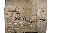 Image of Hittite relief sculpted orthostat stone panel of Long Wall. Close up of Chariot & archer. Karkamıs, (Kargamıs), Carchemish (Karkemish), Anatolian Civilisations Museum.