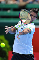 MELBOURNE, 12 JANUARY - Fernando Verdasco (ESP) hits a forehand in a match against Gael Monfils (FRA) on day one of the 2011 AAMI Classic at Kooyong Tennis Club in Melbourne, Australia. (Photo Sydney Low / syd-low.com)