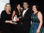Majella Savage, Bláthnait Ní Mhurchú and Helen Stringer of myhomecare.ie receive the Age Friendly award from Mayor Richie Culhane representing sponsor Louth Local Authority at the Business Excellence Awards in Earth Night Club at the Westcourt Hotel. Photo:Colin Bell/pressphotos.ie