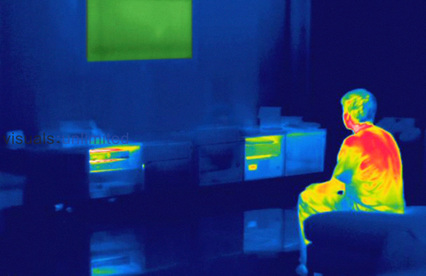 Thermogram of a male teenager playing a home video game. The temperature scale runs from white (warmest) through red, yellow, green and cyan, blue and black (coldest).