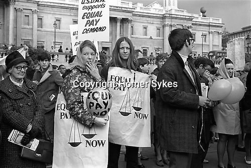Equal Pay Now for women workers  demonstration. Trade Union demo. Trafalgar Square, London UK 1968..Union of Shop, Distributive and Allied Workers (USDAW)..
