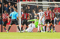 Chris Mepham of AFC Bournemouth left shoots past Dean Henderson of Sheffield United for the first goal during AFC Bournemouth vs Sheffield United, Premier League Football at the Vitality Stadium on 10th August 2019
