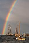A double rainbow arcs over Vineyard Haven Harbor in Tisbury, Marthas Vineyard, Massachusetts, USA