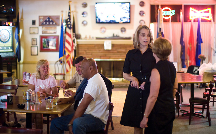 Republican Senate candidate Sue Lowden talks with members of the American Legion Post 733 in Las Vegas during their Memorial Day bbq on Monday, May 31, 2010.