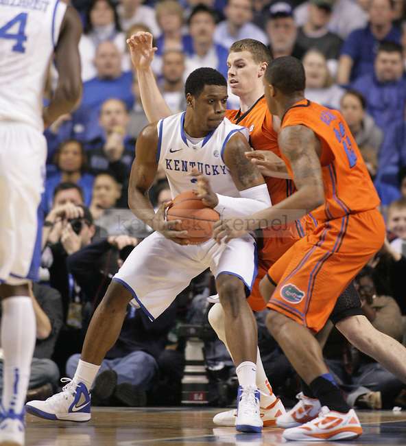 Terrence jones is double-teamed by Florida defenders during the first half of UK's home game against Florida at Rupp Arena in Lexington, Ky. Feb. 7, 2012. Photo by Brandon Goodwin   Staff