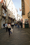 People in shopping street, St Peter Port, Guernsey, Channel Islands, UK