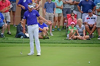 Ian Poulter (GBR) reacts to barely missing his putt on 16  during round 2 of the Valero Texas Open, AT&amp;T Oaks Course, TPC San Antonio, San Antonio, Texas, USA. 4/21/2017.<br /> Picture: Golffile | Ken Murray<br /> <br /> <br /> All photo usage must carry mandatory copyright credit (&copy; Golffile | Ken Murray)