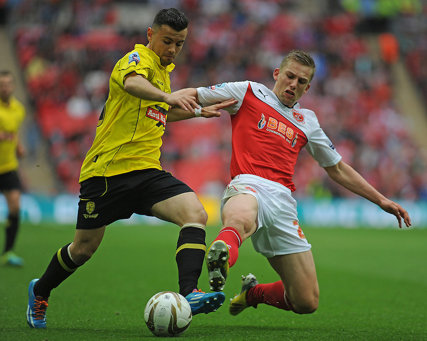 Burton Albion's Zeli Ismail vies for possession with Fleetwood Town's Charlie Taylor<br /> <br /> Photographer Ashley Crowden/CameraSport<br /> <br /> Football - The Football League Sky Bet League Two Play-Off Final - Burton Albion v Fleetwood Town - Mondat 26th May-2014 - Wembley Stadium - London<br /> <br /> &copy; CameraSport - 43 Linden Ave. Countesthorpe. Leicester. England. LE8 5PG - Tel: +44 (0) 116 277 4147 - admin@camerasport.com - www.camerasport.com