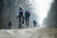 Paris-Roubaix 2013 RECON at Bois de Wallers-Arenberg..Ian Stannard (GBR)