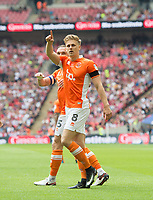 Blackpool's Brad Potts after scoring during the Sky Bet League 2 PLAY OFF FINAL match between Exeter City and Blackpool at Wembley Stadium, London, England on 28 May 2017. Photo by Andrew Aleksiejczuk.