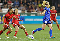 Portland, OR - Saturday July 30, 2016: Hayley Raso, Beverly Yanez during a regular season National Women's Soccer League (NWSL) match between the Portland Thorns FC and Seattle Reign FC at Providence Park.