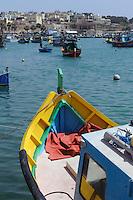 Fischerboote in Marsaxlokk, Malta, Europa