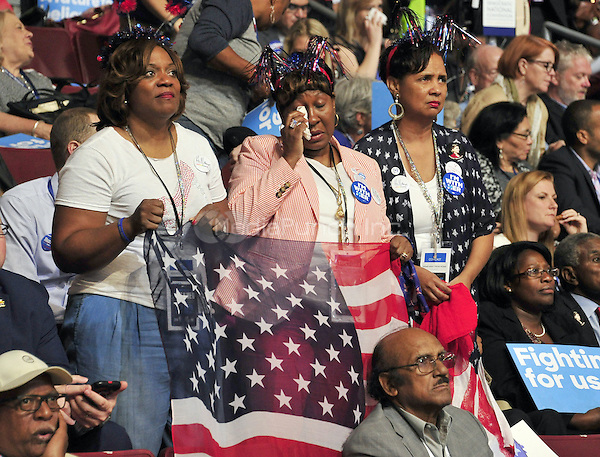 Delegates get emotional as they listen to the &quot;Mothers of the Movement&quot; presentation at the 2016 Democratic National Convention held at the Wells Fargo Center in Philadelphia, Pennsylvania on Tuesday, July 26, 2016.<br /> Credit: Ron Sachs / CNP/MediaPunch<br /> (RESTRICTION: NO New York or New Jersey Newspapers or newspapers within a 75 mile radius of New York City)