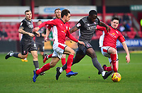 Lincoln City's John Akinde gets between Crewe Alexandra's Harry Pickering, left, and Eddie Nolan<br /> <br /> Photographer Andrew Vaughan/CameraSport<br /> <br /> The EFL Sky Bet League Two - Crewe Alexandra v Lincoln City - Wednesday 26th December 2018 - Alexandra Stadium - Crewe<br /> <br /> World Copyright &copy; 2018 CameraSport. All rights reserved. 43 Linden Ave. Countesthorpe. Leicester. England. LE8 5PG - Tel: +44 (0) 116 277 4147 - admin@camerasport.com - www.camerasport.com