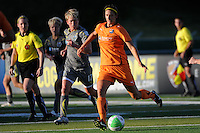 Yael Averbuch (13) of Sky Blue FC is marked by Joanna Lohman (17) of the Philadelphia Independence. The Philadelphia Independence defeated Sky Blue FC 2-1 during a Women's Professional Soccer (WPS) match at John A. Farrell Stadium in West Chester, PA, on June 6, 2010.