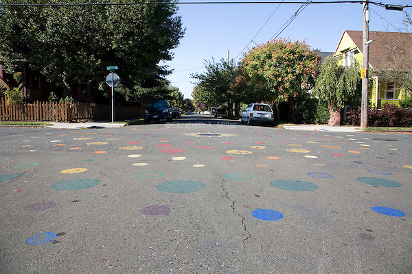 08 October 2009 - Portland, Oregon - A painted street in the northeast section of Portland.  Photo Credit: Elizabeth A. Miller/Sipa Press