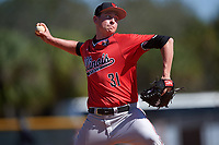 Illinois State Redbirds relief pitcher Jeffrey Barton (31) delivers a pitch during a game against the Northwestern Wildcats on March 6, 2016 at North Charlotte Regional Park in Port Charlotte, Florida.  Illinois State defeated Northwestern 10-4.  (Mike Janes/Four Seam Images)