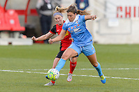 Bridgeview, IL, USA - Saturday, April 23, 2016: Western New York Flash midfielder Michaela Hahn (2) and Chicago Red Stars forward Sofia Huerta (11) during a regular season National Women's Soccer League match between the Chicago Red Stars and the Western New York Flash at Toyota Park. Chicago won 1-0.