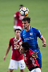 SC Kitchee Defender Helio de Souza (R) heads the ball during the week three Premier League match between Hong Kong Pegasus and Kitchee at Hong Kong Stadium on September 17, 2017 in Hong Kong, China. Photo by Marcio Rodrigo Machado / Power Sport Images