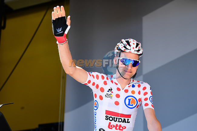 Polka Dot Jersey Tim Wellens (BEL) Lotto-Soudal at sign on before Stage 5 of the 2019 Tour de France running 175.5km from Saint-Die-des-Vosges to Colmar, France. 10th July 2019.<br /> Picture: ASO/Alex Broadway | Cyclefile<br /> All photos usage must carry mandatory copyright credit (© Cyclefile | ASO/Alex Broadway)