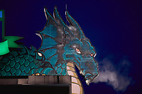 Smoke comes out of the nose of the dragon atop the scoreboard following a home run by Leandro Santana (not pictured) of the Dayton Dragons during the game against the Bowling Green Hot Rods at Fifth Third Field on June 8, 2018 in Dayton, Ohio. The Hot Rods defeated the Dragons 11-4.  (Brian Westerholt/Four Seam Images)