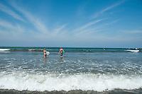 Surfing at a beach party, Chris and Rachel Huk's Wedding, Sayulita, Nayarit, Mexico