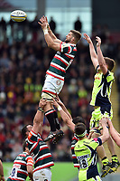 Mike Fitzgerald of Leicester Tigers rises high to win lineout ball. Aviva Premiership match, between Leicester Tigers and Sale Sharks on April 29, 2017 at Welford Road in Leicester, England. Photo by: Patrick Khachfe / JMP