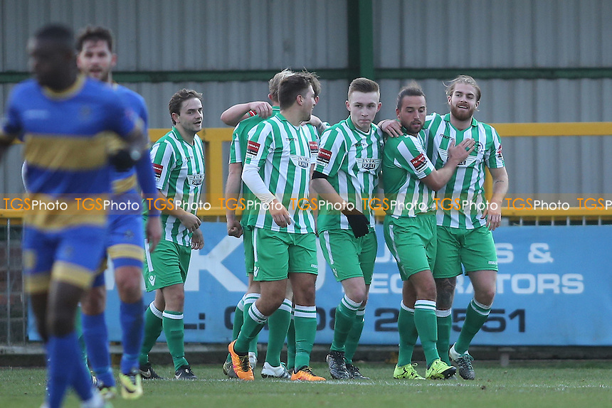 Soham score their second goal and celebrate during Romford vs Soham Town Rangers, Ryman League Division 1 North Football at Ship Lane on 3rd December 2016