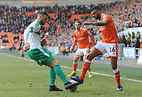 Blackpool's Curtis Tilt is tackled by Plymouth Argyle's Ryan Edwards<br /> <br /> Photographer Kevin Barnes/CameraSport<br /> <br /> The EFL Sky Bet League One - Blackpool v Plymouth Argyle - Saturday 30th March 2019 - Bloomfield Road - Blackpool<br /> <br /> World Copyright © 2019 CameraSport. All rights reserved. 43 Linden Ave. Countesthorpe. Leicester. England. LE8 5PG - Tel: +44 (0) 116 277 4147 - admin@camerasport.com - www.camerasport.com