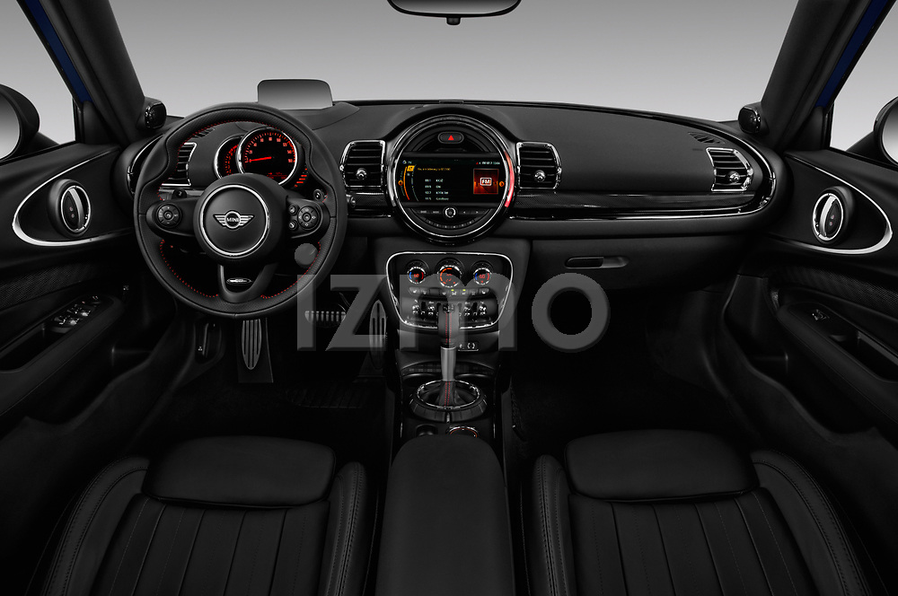 Stock photo of straight dashboard view of a 2017 Mini Clubman John Cooper Works 5 Door Wagon