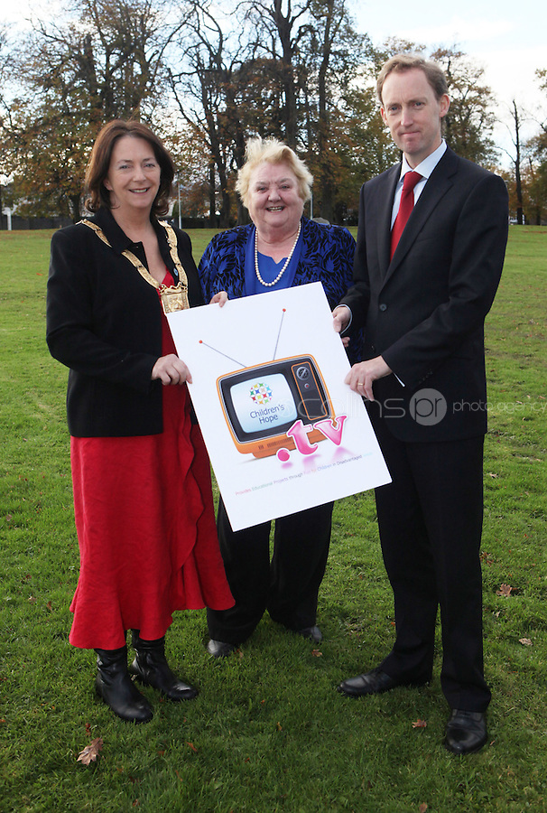 ***NO FEE PIC***.15/11/2010.An Cathaoirleach Cllr Lettie McCarthy.Monica Barnes Board Member at Children's Hope,.Minister for Children Barry Andrews TD .at the launch of Children's Hope.TV at The Media Cube, IADT,Dun Laoghaire, Co. Dublin..The Irish children's Charity Children's Hope has developed an online educational resource for young people & youth workers, a website caleed www.childrens-hope.tv..The websitte features short curriculm-adhering educational programmes available to be played by young people in after-school projects geared to Youth & Comunity Leaders..Photo: Gareth Chaney Collins