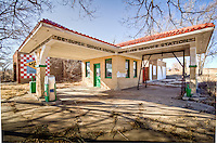 An old Route 66 service station which was built by Bradley Kiser in 1930 in what was then downtown Alanreed Texas. The station has been restored through the efforts of the historic Route 66 Association of Texas.