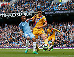 Gabriel Jesus of Manchester City tackled by Martin Kelly of Crystal Palace during the English Premier League match at the Etihad Stadium, Manchester. Picture date: May 6th 2017. Pic credit should read: Simon Bellis/Sportimage