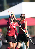 STANFORD, CA - November 4, 2011: Becky Dru and Hope Burke during the Stanford vs. Davidson in the second round of  the  NorPac Championship at the Varsity Turf on the Stanford campus Friday afternoon.<br /> <br /> Stanford defeated Davidson 7-2.