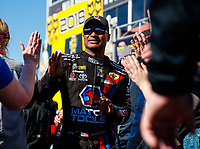 Feb 25, 2018; Chandler, AZ, USA; NHRA top fuel driver Antron Brown during the Arizona Nationals at Wild Horse Pass Motorsports Park. Mandatory Credit: Mark J. Rebilas-USA TODAY Sports