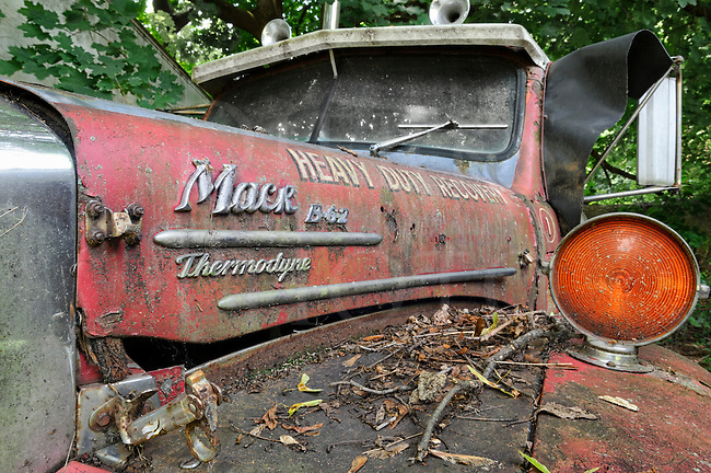 Abandoned Mack Truck Red B Model Thermodyne Rip Van