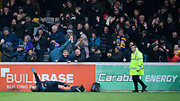 Mansfield Town fans celebrate their teams goal, scored by Jacob Mellis<br /> <br /> Photographer Chris Vaughan/CameraSport<br /> <br /> The EFL Sky Bet League Two - Lincoln City v Mansfield Town - Saturday 24th November 2018 - Sincil Bank - Lincoln<br /> <br /> World Copyright &copy; 2018 CameraSport. All rights reserved. 43 Linden Ave. Countesthorpe. Leicester. England. LE8 5PG - Tel: +44 (0) 116 277 4147 - admin@camerasport.com - www.camerasport.com