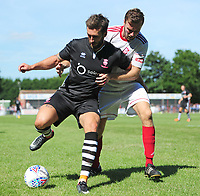 Lincoln City's Ollie Palmer shields the ball from Lincoln United's Sean Wright<br /> <br /> Photographer Chris Vaughan/CameraSport<br /> <br /> Football - Pre-Season Friendly - Lincoln United v Lincoln City - Saturday 8th July 2017 - Sun Hat Villas Stadium - Lincoln<br /> <br /> World Copyright &copy; 2017 CameraSport. All rights reserved. 43 Linden Ave. Countesthorpe. Leicester. England. LE8 5PG - Tel: +44 (0) 116 277 4147 - admin@camerasport.com - www.camerasport.com