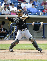 April 18, 2004:  Catcher Gustavo Molina of the Kannapolis Intimidators, Low-A South Atlantic League affiliate of the Chicago White Sox, during a game at Classic Park in Eastlake, OH.  Photo by:  Mike Janes/Four Seam Images