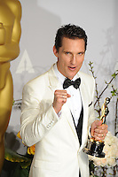 Matthew McConaughey at the 86th Annual Academy Awards at the Dolby Theatre, Hollywood.<br /> March 2, 2014  Los Angeles, CA<br /> Picture: Paul Smith / Featureflash