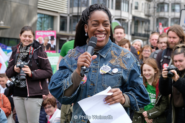 Labour MP Kate Osamur addresses Left Bloc rally, People's Vote march, Park Lane, London.